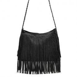 Stylish Weaving and Fringe Design Women's Crossbody Bag - BLACK