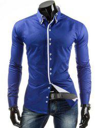 Stylish Slimming Shirt Collar Contrast Color Placket Long Sleeve Polyester Button-Down Shirt For Men -