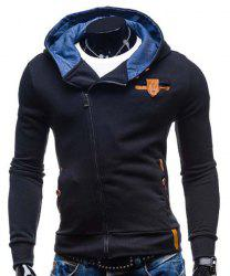 Modish Hooded Patched Splicing Oblique Zipper Slimming Long Sleeve Polyester Hoodie For Men - BLACK