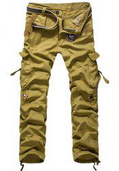 Loose Fit Modish Multi-Pocket Solid Color Straight Leg Men's Cotton Blend Cargo Pants - KHAKI