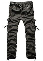 Loose Fit Modish Multi-Pocket Solid Color Straight Leg Men's Cotton Blend Cargo Pants -