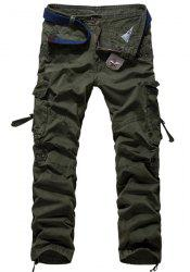 Loose Fit Modish Multi-Pocket Solid Color Straight Leg Men's Cotton Blend Cargo Pants - ARMY GREEN 36