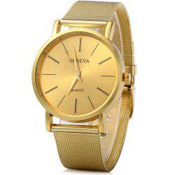 Geneva Male Quartz Watch with Round Dial Stainless Steel Band