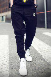Rib Cuffs Ethnic Applique Slimming Jogger Pants - BLACK