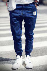 Rib Cuffs Ethnic Applique Slimming Jogger Pants