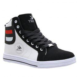 Trendy High-Top and Color Block Design Men's Casual Shoes - WHITE