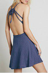 Mini Backless Skater Summer Dress - BLUE