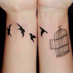 Chic Birdcage and Bird Pattern Waterproof Tattoo Sticker For Women
