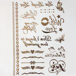 Chic Handwritten Letters Butterfly Lip Pattern Gilding Tattoo Sticker For Women