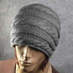 Stylish Solid Color Hemp Flower Embellished Knitted Beanie For Men and Women -