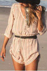 Fashionable V Neck Stripe Buttons 3/4 Sleeve Romper For Women -