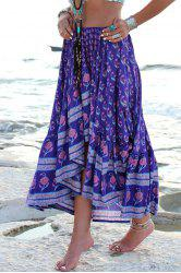 Fashionable Asymmetrical Floral Print Skirt For Women - DEEP PURPLE