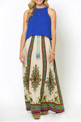Stylish Drawstring Vintage Print Women's Skirt