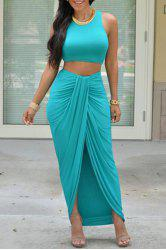 Stylish Sleeveless Crop Top and Solid Color Skirt Women's Suit - LAKE BLUE