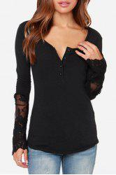 Stylish Round Neck Long Sleeve Lace Spliced Openwork Women's T-Shirt
