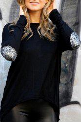 Casual Style Round Neck Glitter Sleeve Spliced Irregular Hem Women's T-Shirt