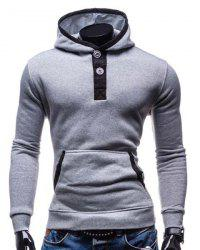 Fashion Hooded Color Splicing Button Design Slimming Long Sleeve Cotton Blend Hoodie For Men - LIGHT GRAY M