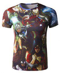Fashion Round Neck 3D Cartoon Characters Print Slimming Short Sleeve Polyester Quick-Dry T-Shirt For Men -