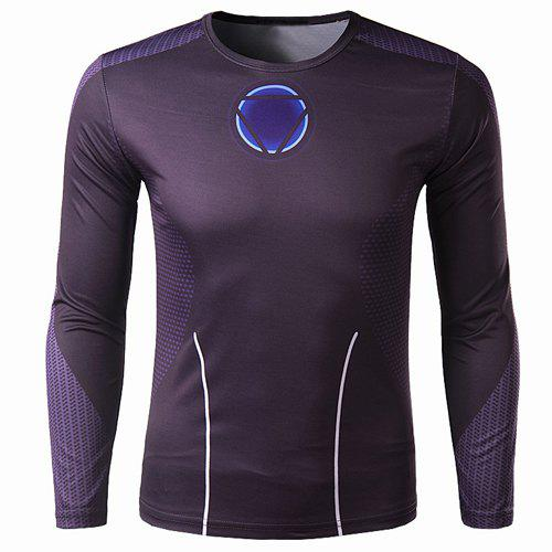 Trendy Trendy Round Neck 3D Iron Man Print Slimming Long Sleeve Quick-Dry T-Shirt For Men