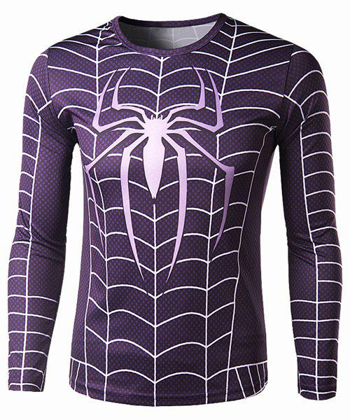 Hot Trendy Round Neck 3D Spider-Man Print Slimming Long Sleeve Polyester Quick-Dry T-Shirt For Men
