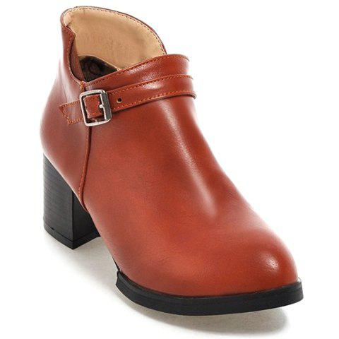 Latest Casual Solid Color and Buckle Design Women's Boots