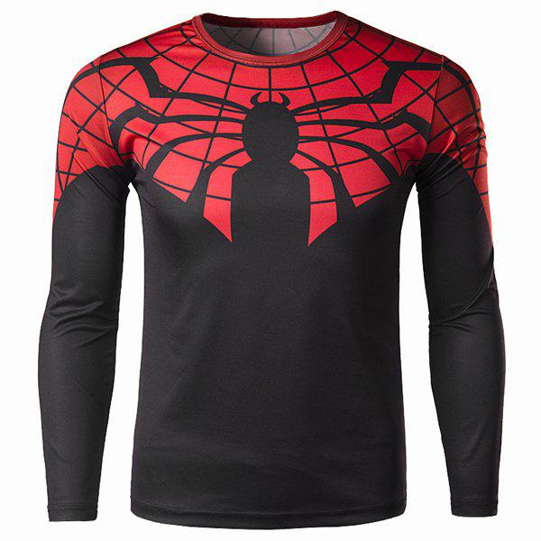 Modish Round Neck Color Block 3D Spider-Man Print Slimming Long Sleeve Polyester Quick-Dry T-Shirt For Men