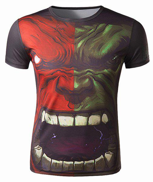Shop Fashion Round Neck 3D The Hulk Pattern Slimming Short Sleeve Polyester Quick-Dry T-Shirt For Men