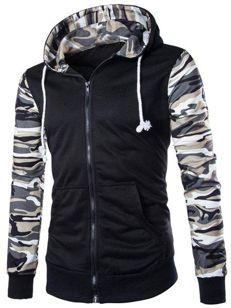 Fashion Classic Camo Spliced Rib Hem Color Block Slimming Hooded Long Sleeves Men's Fashion Hoodie