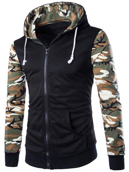 Trendy Classic Camo Spliced Rib Hem Color Block Slimming Hooded Long Sleeves Men's Fashion Hoodie