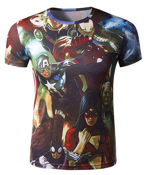 Chic Fashion Round Neck 3D Cartoon Characters Print Slimming Short Sleeve Polyester Quick-Dry T-Shirt For Men