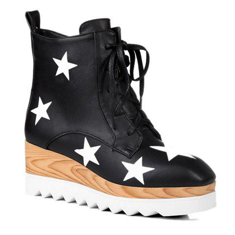 Buy Stylish Star Pattern and Lace-Up Design Women's Boots