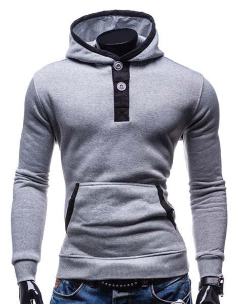 Fashion Hooded Color Splicing Button Design Slimming Long Sleeve Cotton Blend Hoodie For MenMEN<br><br>Size: L; Color: LIGHT GRAY; Material: Cotton,Polyester; Shirt Length: Regular; Sleeve Length: Full; Style: Fashion; Weight: 0.406KG; Package Contents: 1 x Hoodie;