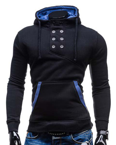 Trendy Hooded Double Breasted Pocket Hemming Slimming Long Sleeve Cotton Blend Hoodie For MenMEN<br><br>Size: M; Color: BLACK; Material: Cotton,Polyester; Shirt Length: Regular; Sleeve Length: Full; Style: Fashion; Weight: 0.469kg; Package Contents: 1 x Hoodie;