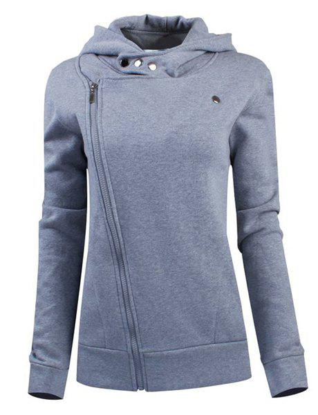 Shop Stylish Solid Color Long Sleeves Hoodie For Women