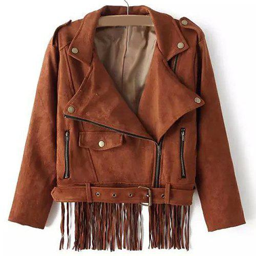 Brown M Chic Solid Color Back Tassel Spliced Thick Jacket ...