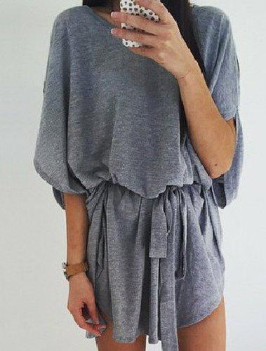 Latest Casual Round Collar Gray Half Sleeve Dress For Women
