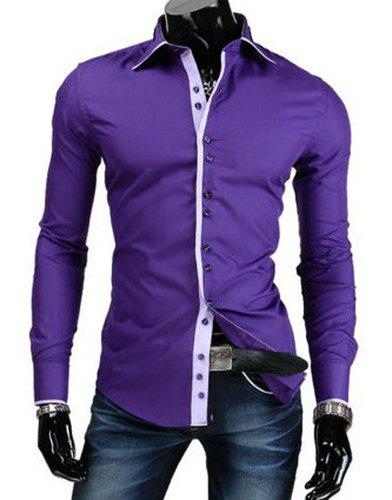Trendy Slimming Shirt Collar Button Design Color Block Placket Long Sleeve Polyester Shirt For MenMEN<br><br>Size: M; Color: PURPLE; Shirts Type: Casual Shirts; Material: Polyester; Sleeve Length: Full; Collar: Turn-down Collar; Weight: 0.2070kg; Package Contents: 1 x Shirt;