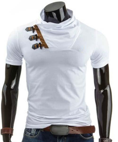 White m trendy slimming cowl neck color block horn button for Polyester t shirts for men