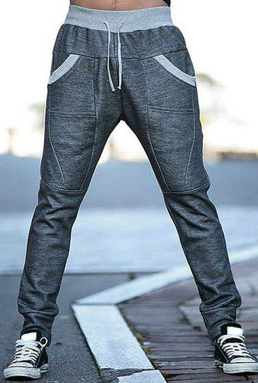Slimming Stylish Lace-Up Color Block Splicing Beam Feet Polyester Mens SweatpantsMEN<br><br>Size: M; Color: DEEP GRAY; Style: Casual; Material: Polyester; Fit Type: Regular; Waist Type: Mid; Closure Type: Drawstring; Front Style: Flat; Pant Length: Long Pants; Pant Style: Pencil Pants; Weight: 0.4185kg; Package Contents: 1 x Sweatpants;