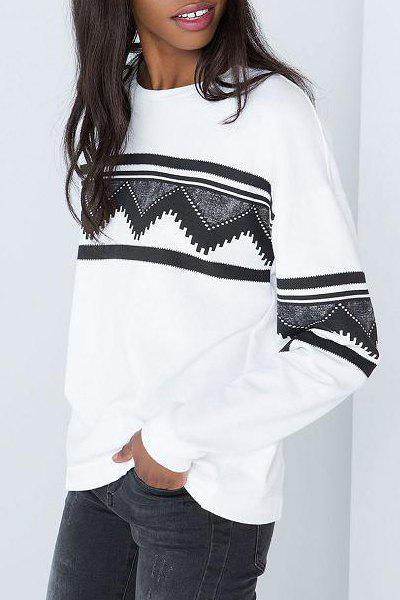 Buy Stylish Round Neck Long Sleeve Geometric Print Women's White Sweatshirt