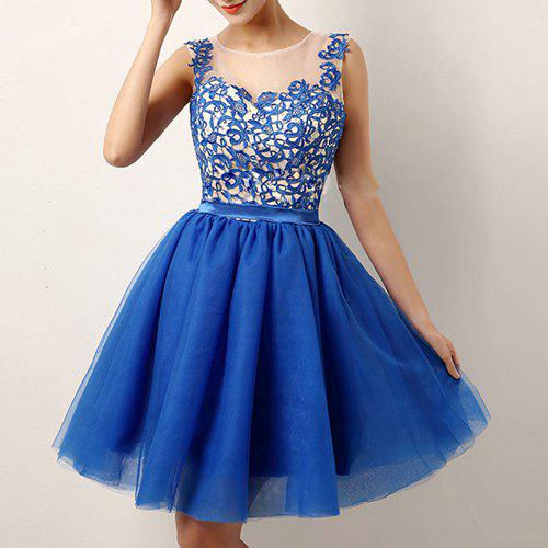 Shops Charming Round Collar Sleeveless Voile Spliced See-Through Women's Dress