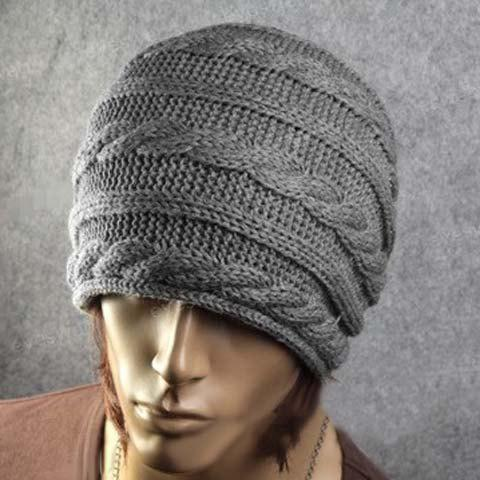 Trendy Stylish Solid Color Hemp Flower Embellished Knitted Beanie For Men and Women