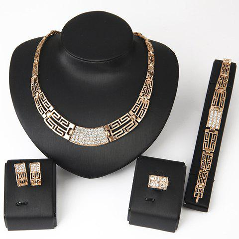 Chic Rhinestone Hollow Out Womens Necklace Bracelet Ring and A Pair of EarringsJEWELRY<br><br>Color: GOLDEN; Item Type: Chainsaw Necklace; Gender: For Women; Material: Rhinestone; Style: Trendy; Shape/Pattern: Others; Length: 17CM(Bracelet) 2.2CM(Earring); Weight: 0.095kg; Package Contents: 1 x Necklace 1 x Bracelet 1 x Ring 1 x Earring(Pair);