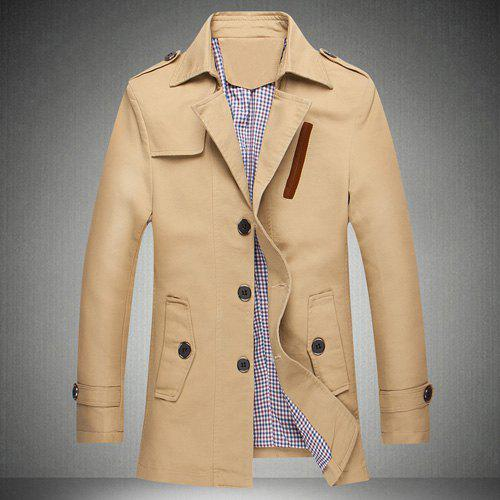 Minceur Casual Turn-down col Multi-Bouton Manteau long Trench manches Épaulette tissu Spliced Hommes