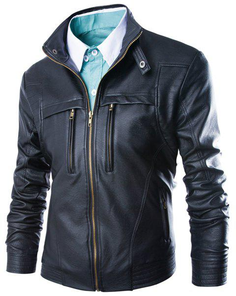 Hot Modish Slimming Stand Collar Solid Color Zipper Design Long Sleeve PU Leather Jacket For Men