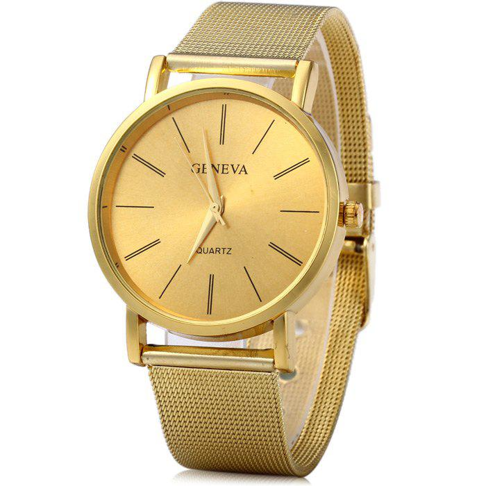 Geneva Male Quartz Watch with Round Dial Stainless Steel BandJEWELRY<br><br>Color: GOLDEN; Brand: Geneva; Watches categories: Male table; Watch style: Fashion; Style elements: Stainless Steel; Available Color: Gold;