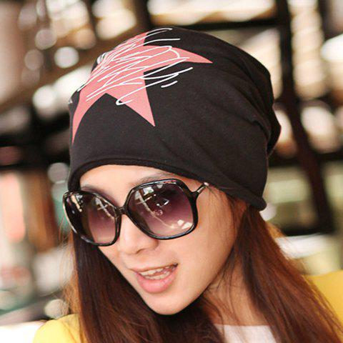 Chic Big Five-Pointed Star and Scrawl Pattern Multifunctional Beanie For WomenACCESSORIES<br><br>Color: BLACK; Hat Type: Skullies Beanie; Group: Adult; Gender: For Women; Style: Fashion; Pattern Type: Star; Material: Polyester; Circumference (CM): 56CM-58CM; Weight: 0.08KG; Package Contents: 1 x Hat;