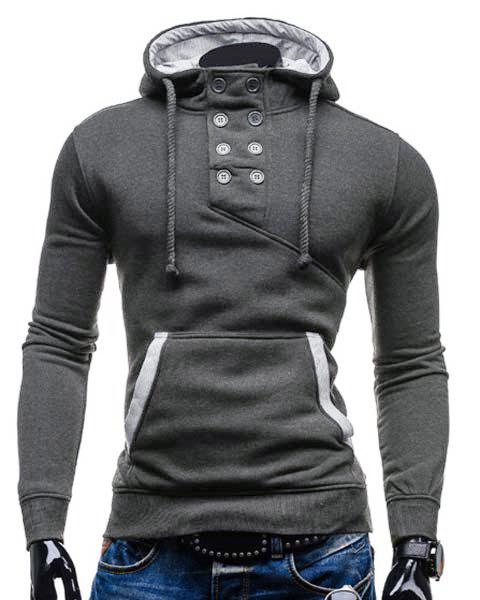 Trendy Hooded Double Breasted Pocket Hemming Slimming Long Sleeve Cotton Blend Hoodie For MenMEN<br><br>Size: L; Color: DEEP GRAY; Material: Cotton,Polyester; Shirt Length: Regular; Sleeve Length: Full; Style: Fashion; Weight: 0.469kg; Package Contents: 1 x Hoodie;