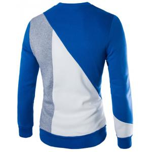 Modish Slimming Round Neck Multicolor Irregular Splicing Long Sleeve Polyester Sweatshirt For Men -