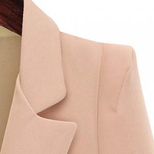 Ladylike Lapel Long Sleeve Solid Color Flounced Blazer For Women -